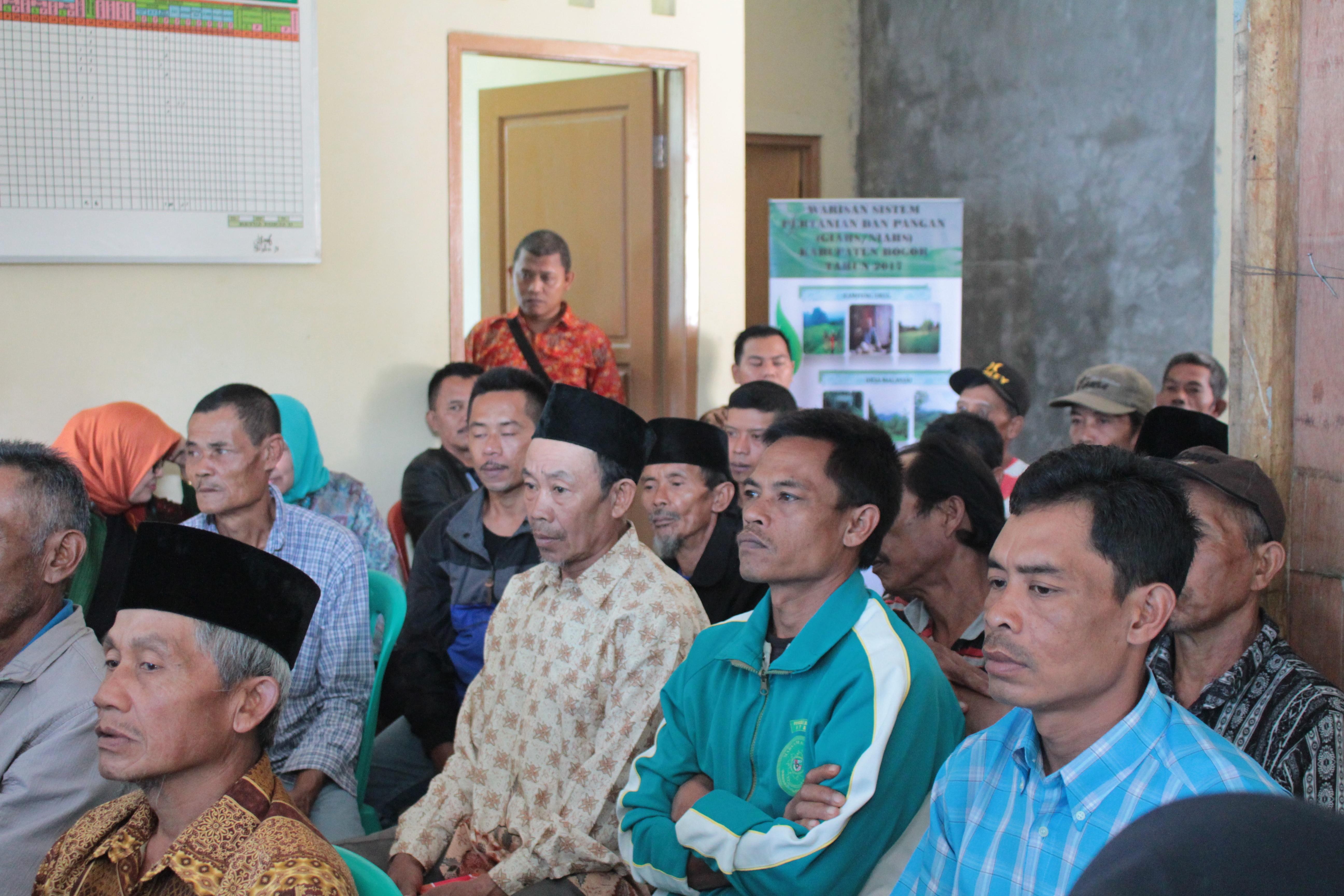 Antusias Peserta Sosialisasi Pembinaan Warisan Sistem Pertanian dan Pangan (GIAHS/NIAHS) yang dilaksanakan di Desa Malasari